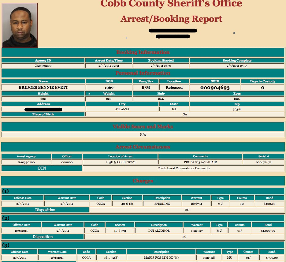 APD Inv. Bennie Bridges booking report Eagle Bar Investigator Charged With DUI!!!